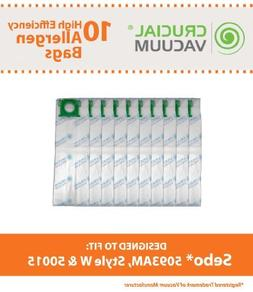 10 Sebo Ultra Allergen HEPA Style Cloth Upright Vacuum Bags