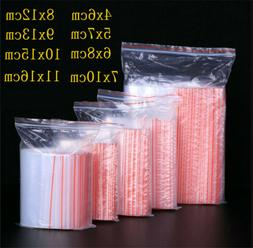 100pcs Small Zip Lock Plastic Bags Reclosable Transparent Ba