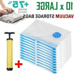 10x Large Vacuum Storage Bags Space Saver with Hand Pump For