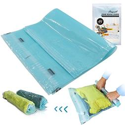 12 Travel Space Saver Bags Hand Rolling Compressible No Vacu