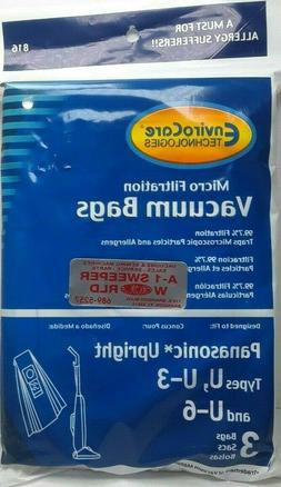 15 Panasonic U, U-3 & U-6 Upright Vacuum Cleaner Bags, MC-V1
