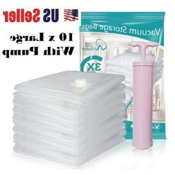 10pc Vacuum Storage Bags Space Saver + Hand Pump For Travel