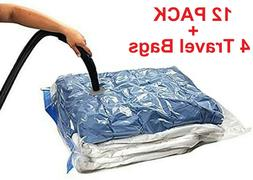 16 PACK: 12 LARGE Space Saver Storage Vacuum Seal Organizer