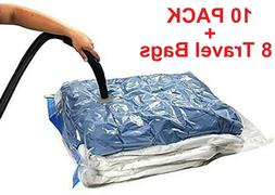 18 PACK: 10 LARGE Space Saver Storage Vacuum Seal Organizer
