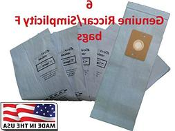 6 Genuine Riccar / Smplicity Type F Ecopure Vacuum Bags by R