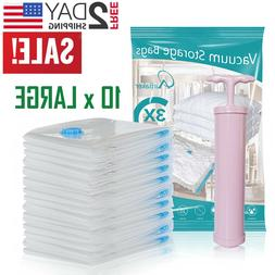 10 Vacuum Storage Bags Travel Space Saver Garment Seal Cloth