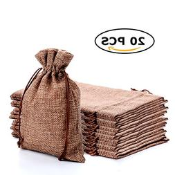 CARANFIER Burlap Bags with Jute Drawstring for Holiday Party