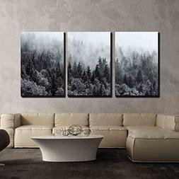wall26 - 3 Piece Canvas Wall Art - Misty Forests of Evergree