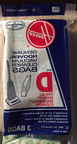 Hoover Dial A Matic Bags ~ Type D ~ Vintage 3 per pack.