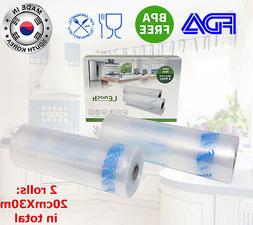 KOREA 2Rolls 20cmX15m Vacuum Sealer Bag Food Saver Storage F
