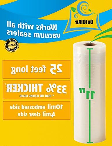 """11"""" x 25' Rolls - OutOfAir Vacuum Sealer Rolls for Foodsaver and 33% Thicker, FDA Approved, Sous Commercial Grade"""