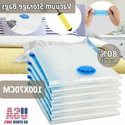12x Jumbo Large Storage Bags Saving Clothes Quilts +Hand Pump