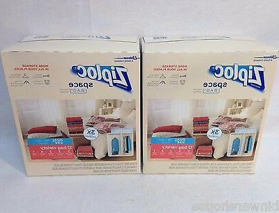 2 Pack Ziploc Space Saver Vacuum Seal & Roll Up Bags Airtigh
