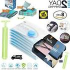 8pc Vacuum Storage Bags Space Saver + Hand Pump For Travel T