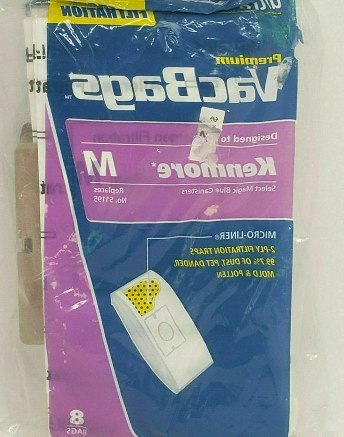 Kenmore Type M Canister Allergen Filtration Vacuum Bags 8 ct