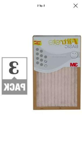 3M Filtrete Basic White Pleated Air Furnace Filter -3Pack
