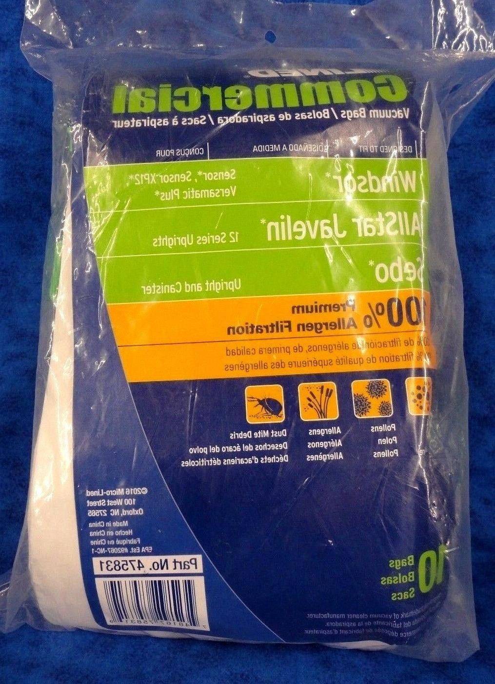 MICRO LINED COMMERCIAL  VACUUM BAGS WINDSOR ALLSTAR JAVELIN