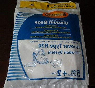 Hoover R30 Vacuum Bags 5 Bags & 2 Filters for 40101002 S1361