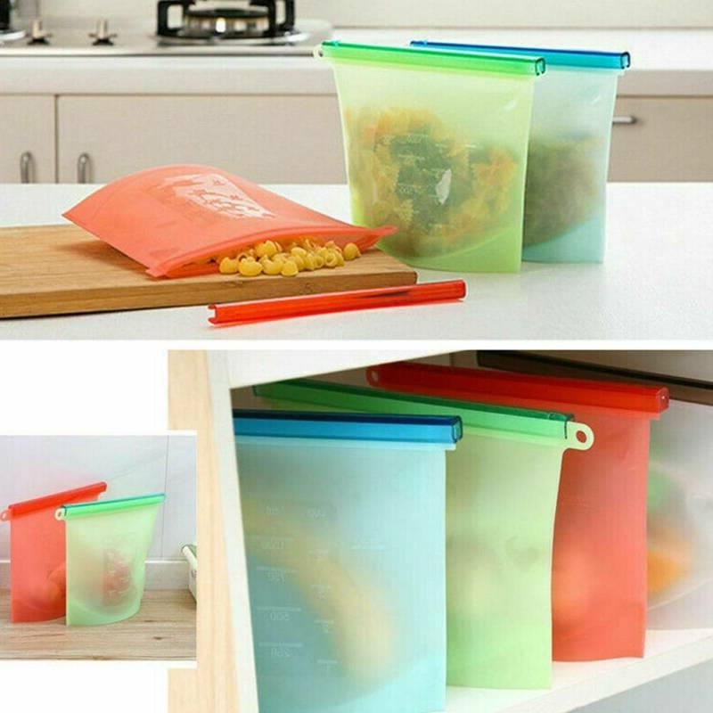 Reusable Vacuum Silicone Storage Bag Seal Bags 1000ML/1500ML