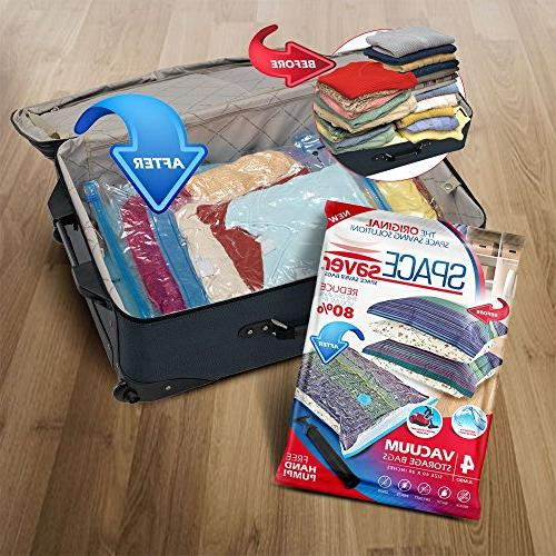 Space Vacuum Storage Bags , Save 80% More Space. Double Seal & Leak Travel Hand Included