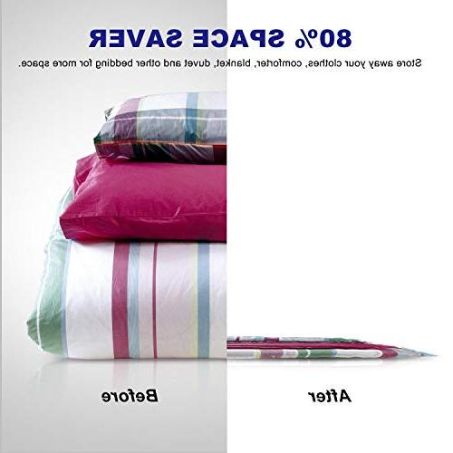 Vacuum Storage Bags Pack Jumbo 80% More Double & Reusable, Travel