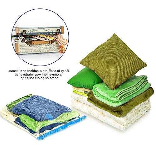 Cynki Vacuum Storage Bags Pack More Double Seal & Leak and Reusable, Hand Included