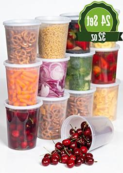 Plastic Food Storage Containers with Lids 32 oz - 24 Pack Lu