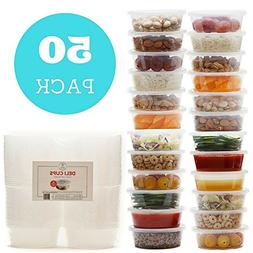 Reusable Food Storage Containers 50 Set Freezable Microwavab