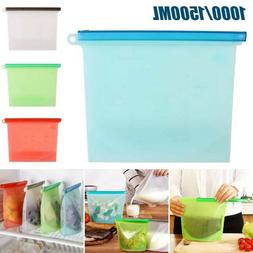 Reusable Vacuum Silicone Food Storage Bag Zip Container Seal