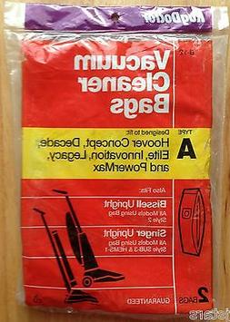 TWO  HOOVER CONCEPT ELITE BISSELL VACUUM CLEANER BAGS, TYPE