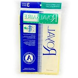 Royal Upright Vacuum Type A Aire Filtration Paper Bags 3 Pk
