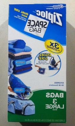 Ziploc Space Bag 3 Large Flat Dual Use Vacuum Seal or Roll S
